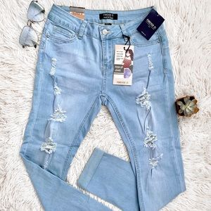 mid rise push up ripped jeans